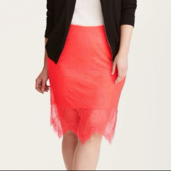 46e48ec7ae73d Torrid Bright Coral Stretch Lace Pencil Skirt